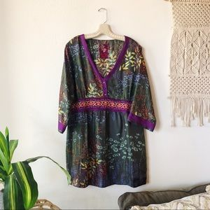 JOHNNY WAS 100% SILK EMBROIDERED TUNIC BLOUSE